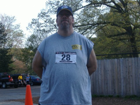 While it's not the 'after' picture yet, there is less of me. I put this on just in case people at the event wondered how I knew about it - well, I was number 28, that guy wearing the Harris sticker.