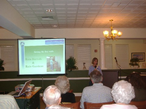 Margaret Vivian came to us from the local branch of the Chesapeake Bay Foundation known as the Heart of the Chesapeake. Here she introduces the audience to rain barrels and rain gardens.
