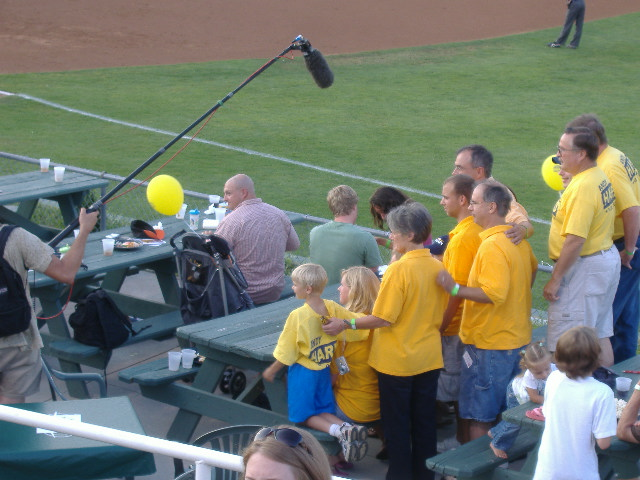 Andy Harris and a few of his friends taping a commercial during the Shorebirds game.