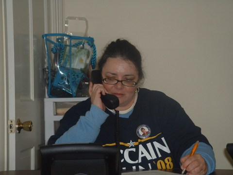 Here's Maria hard at work, making the phone calls to help John McCain carry Pennsylvania - or so she hopes.