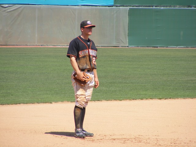 Tyler Kolodny waits on the next play at his customary third base position.