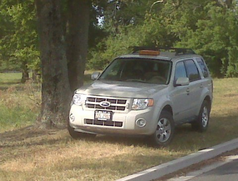 This silver Ford Escape with Illinois tags contains the equipment. It was spotted parked in a small grove of trees along N. Division Street in Fruitland. The photo was taken by a person who wishes to remain anonymous.