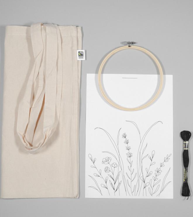 Bestickte Line-Art Tasche im praktischen DIY-Kit