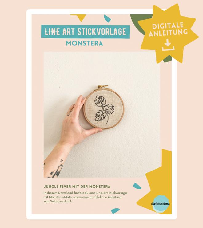 Digitale Anleitung und Line-Art Stickvorlage mit Monstera-Motiv