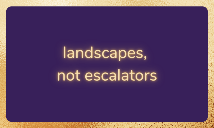 Purple background with gold border. Text reads: landscapes, not escalators