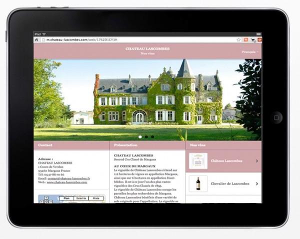 site mobile tablette château vin