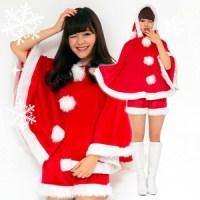 【クリスマスコスプレ】Peach×Peach レディース キュートサンタ ポンチョ&ショートパンツ