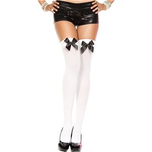 Music Legs 4742White/Black ニーハイソックス