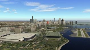 Blick auf die Skyline von Chicago aus südlicher Richtung.