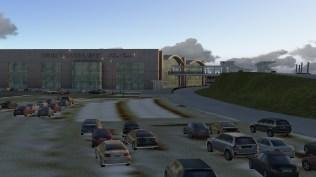 Flughafenvorfahrt und Parkplatz in X-Plane...