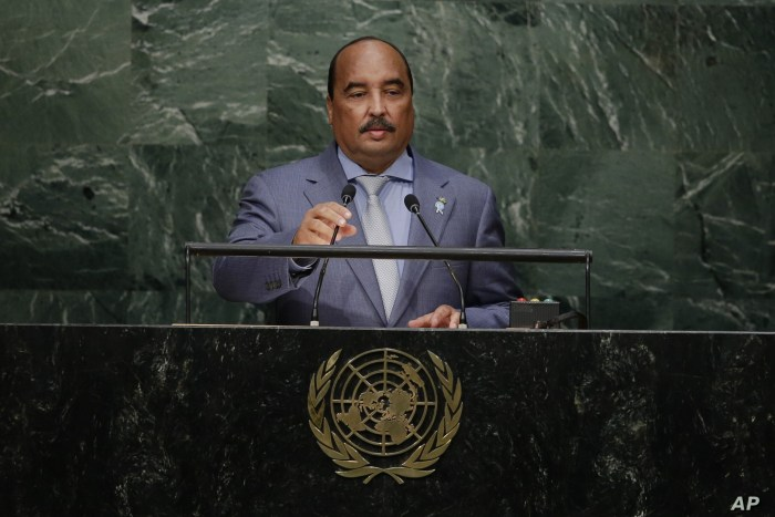 Mauritania's President Mohamed Ould Abdel Aziz addresses the 2015 Sustainable Development Summit, Sept. 26, 2015, at the United Nations headquarters.