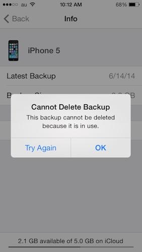 cannot delete backup