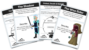 4 cards from the Establishing Epic Heroes Game