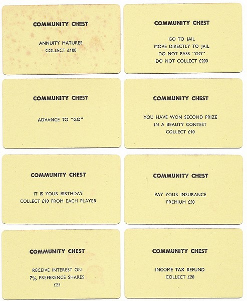 Monopoly Community Chest Cards