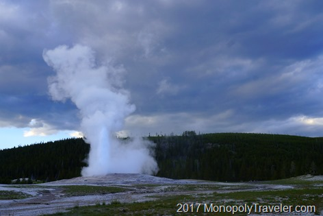 Old Faithful erupting in Yellowstone NP