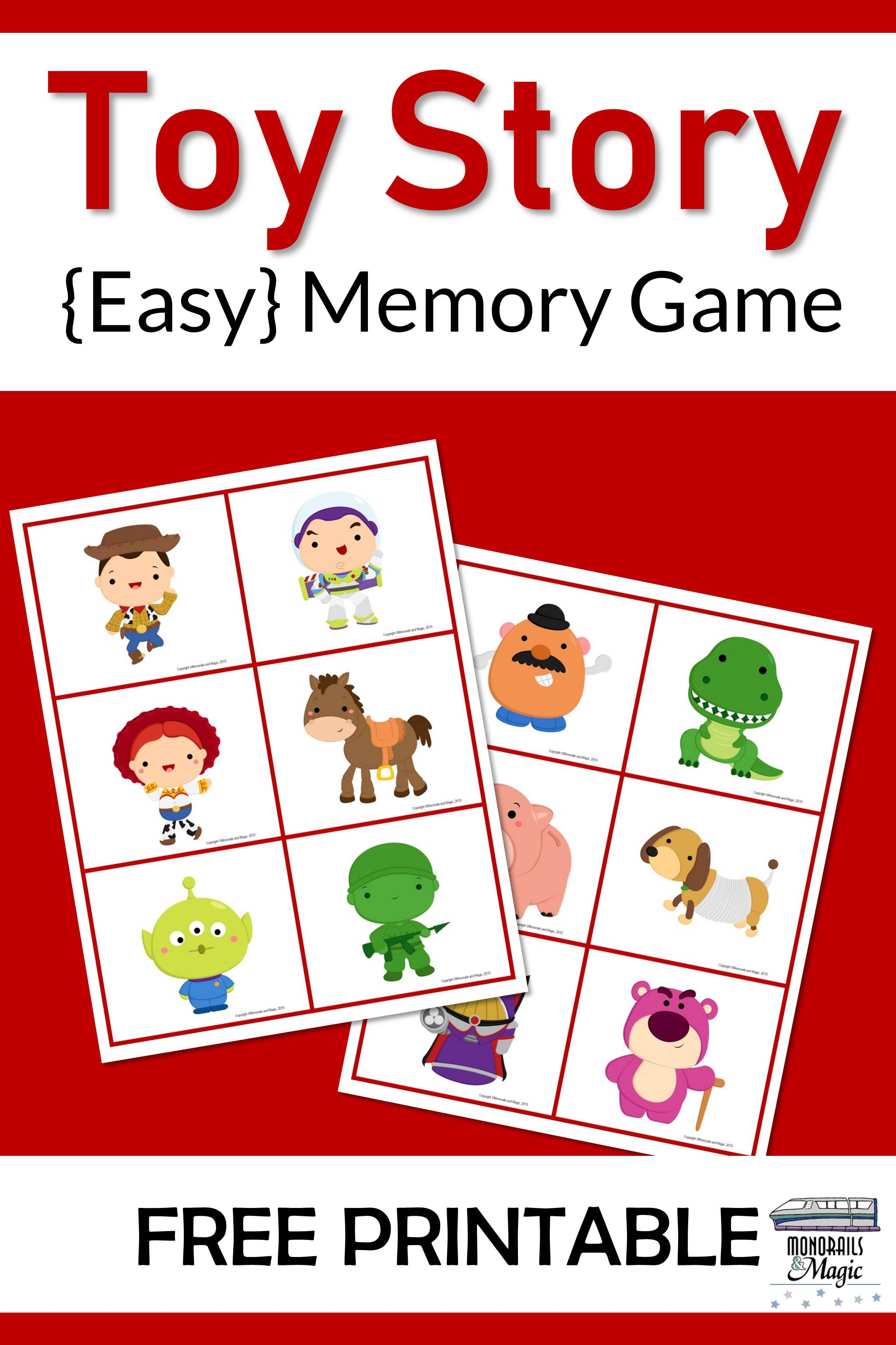 Toy Story Memory Game Free Printable