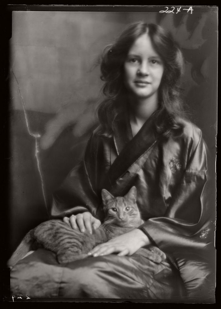 Vintage Studio Portraits of Girls with Cat by Arnold