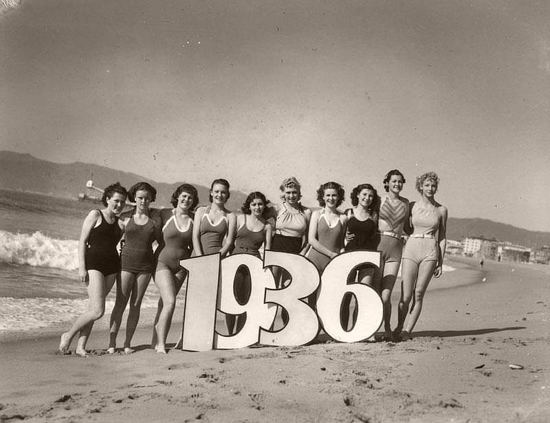 Vintage Women Greeting New Year In Swimsuits 1930s