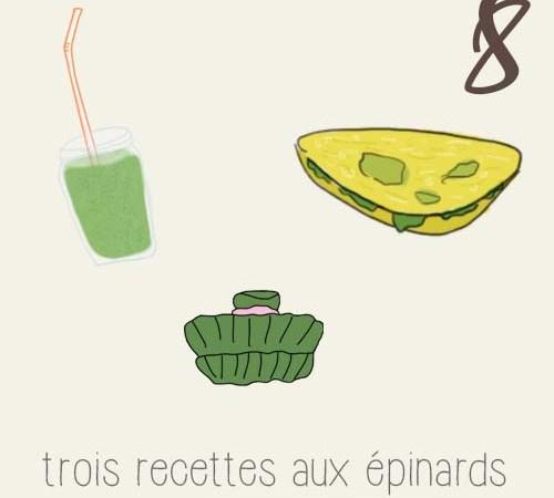 Trois recettes autour des épinards
