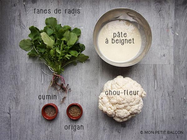 pâte à beignets, chou-fleur, fanes de radis, graine de cumin, origan