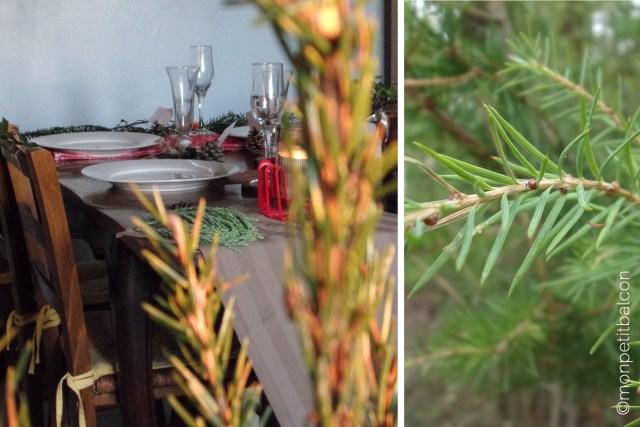 Décoration de table de noël végétale centre de table