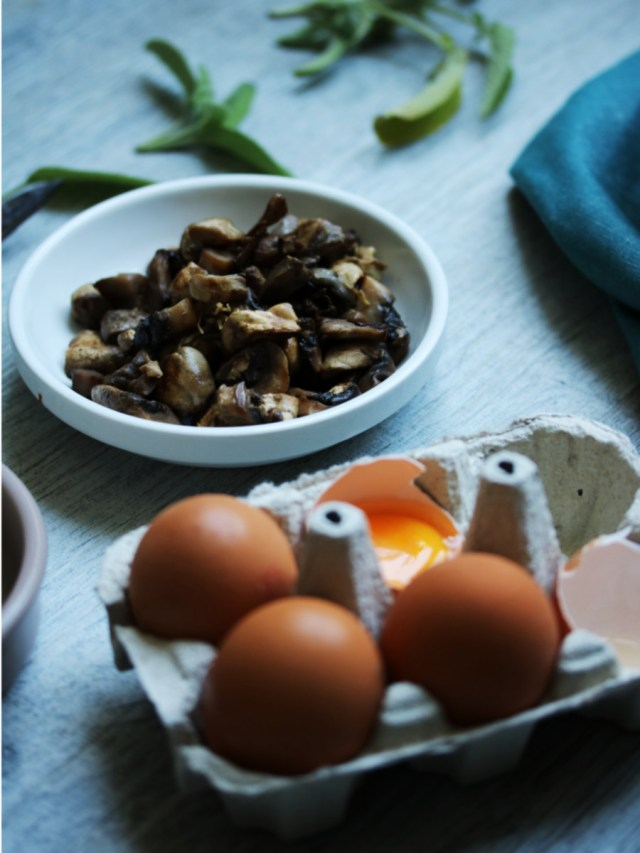 boite œuf et champignon pour préparer la recette végétarienne de quiche aux champignons et sauge sans gluten et sans lactose   Mon petit balcon