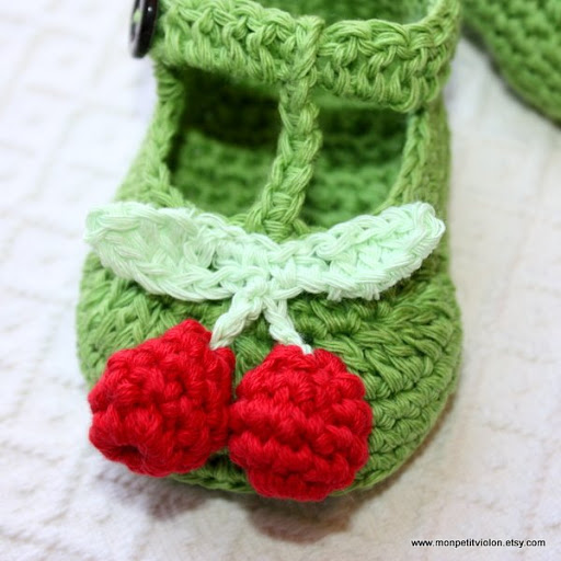 New Pattern T Strap Cherry Baby Booties Mon Petit Violon
