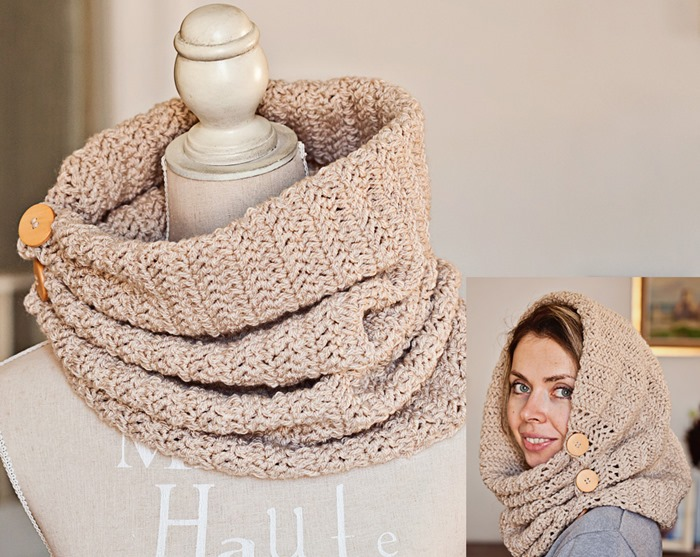 Herringbone Gathered Cowl with buttons