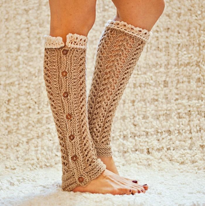 Mon Petit Violon Knits - Knit Lace Leg Warmers