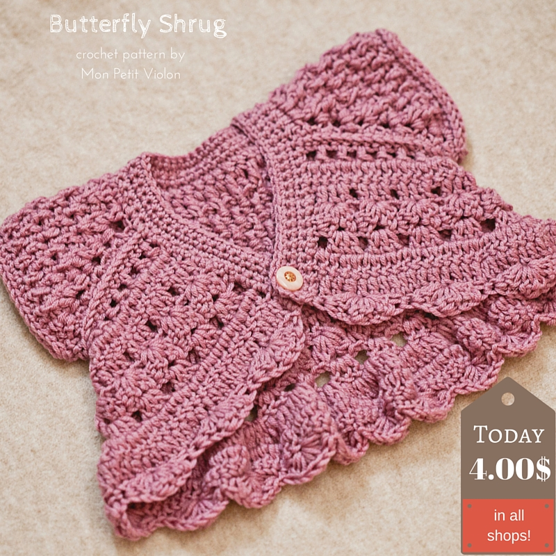 Probably the cutest shrug I ever made - Butterfly Shrug!
