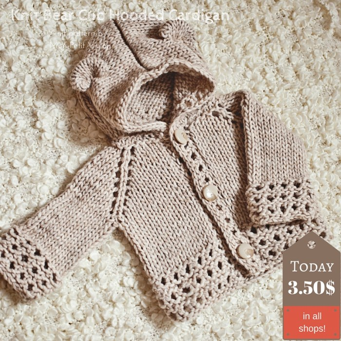 Knit Bear Cub Hooded Cardigan - knit pattern by Mon Petit Violon