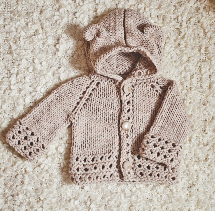 Knit Bear Cub Hooded Cardigan - knit pattern by Mon Petit Violon