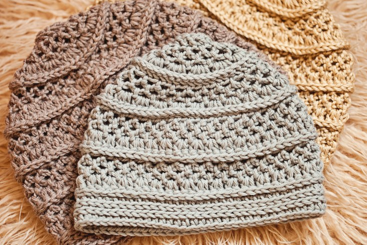 Textured Beanie - crochet hat pattern by Mon Petit Violon