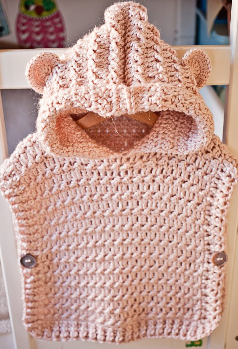 Crochet Hooded Poncho Pullover, pattern by Mon Petit Violon
