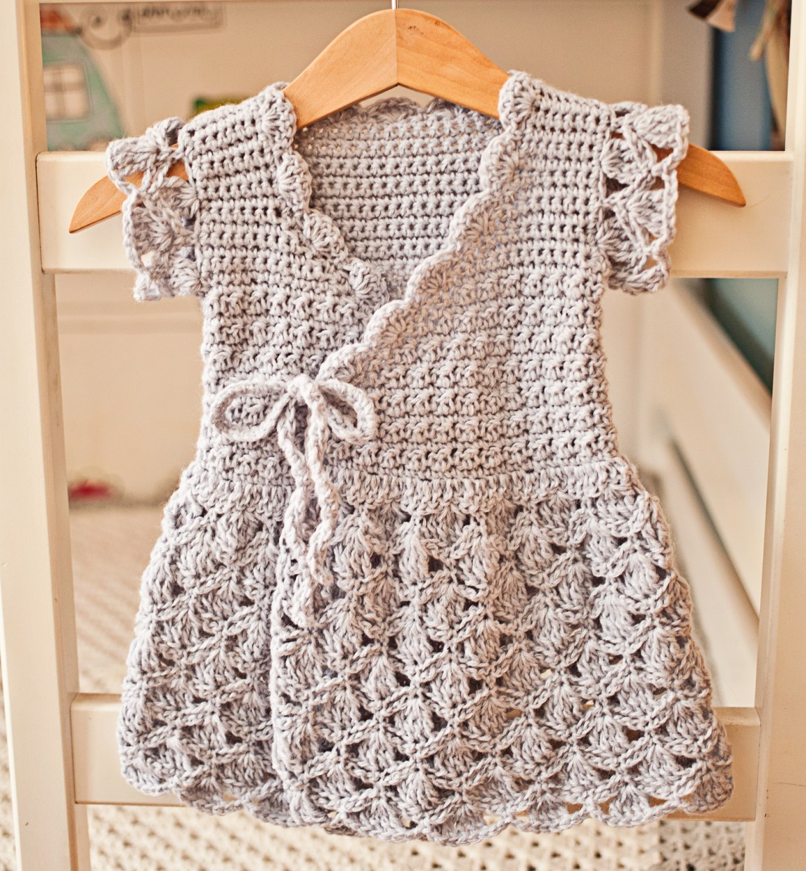 Lavender Wrap Dress, crochet pattern by Mon Petit Violon