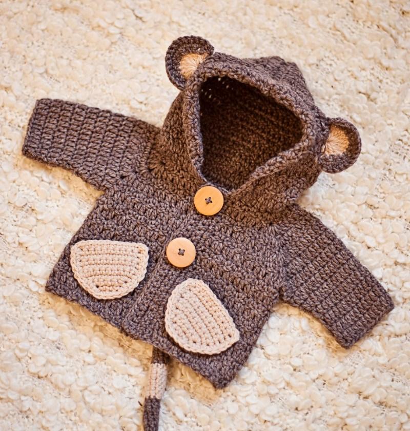 Monkey Hooded Cardigan, crochet pattern by Mon Petit Violon