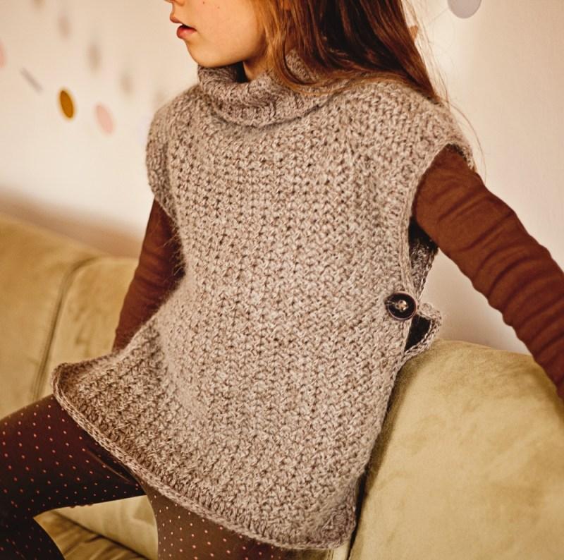 Knit-look Poncho Pullover by Mon Petit Violon, www.monpetitviolon.etsy.com