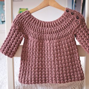 Ribbed Yoke Sweater, crochet pattern by Mon Petit Violon