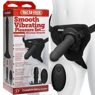 Smooth Vibrating Pleasure Set Silicone - Harnais Vac-U-Lock - Doc Jonhson