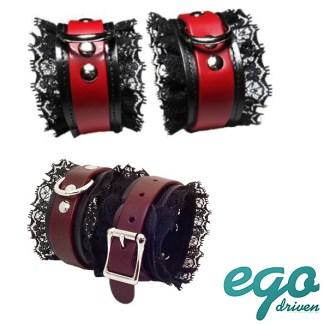 Fancy Cuffs - Mini Menottes en Cuir avec Dentelle Noir - Doublées de Suède - Ego Driven