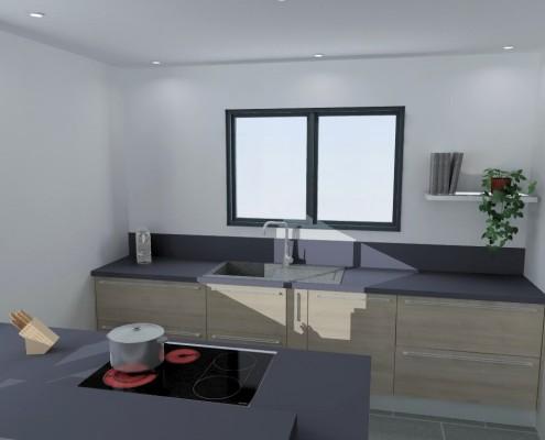 meuble de cuisine noir laqué
