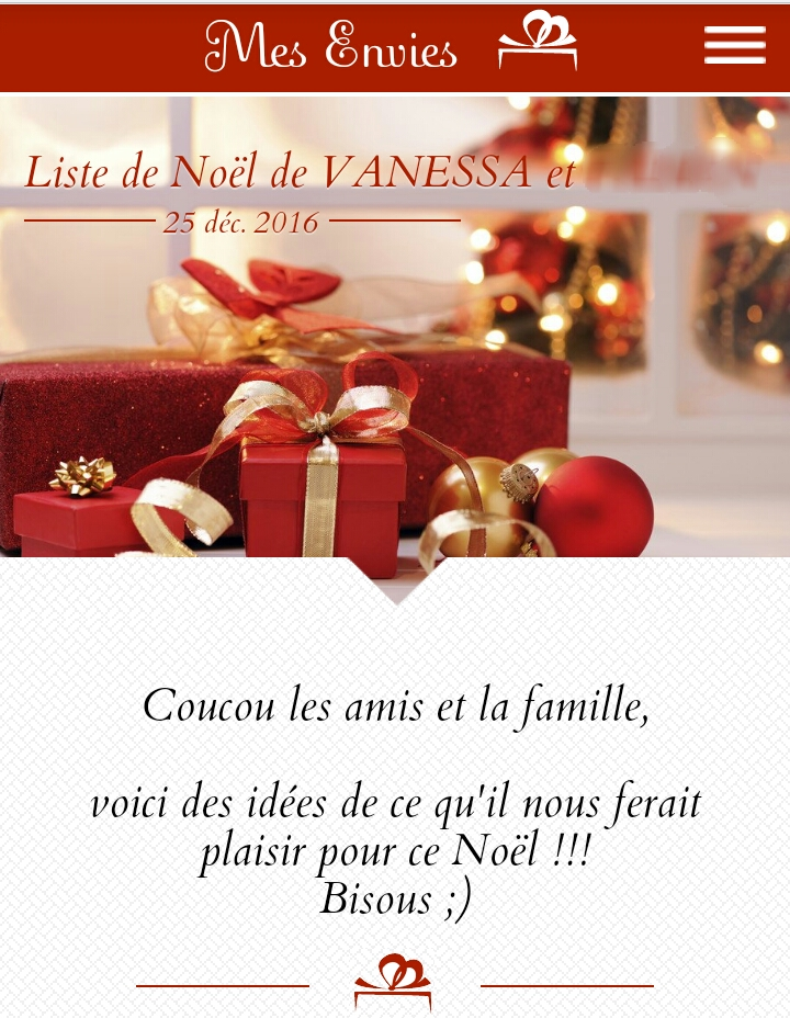 Mes Envies Liste Noel : envies, liste, Blabla], Notre, Liste, Noël, Mesenvies.fr