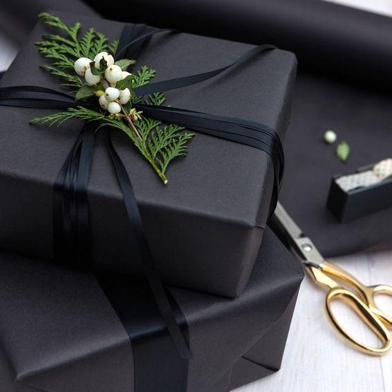 Inspi festive : des emballages noirs et or