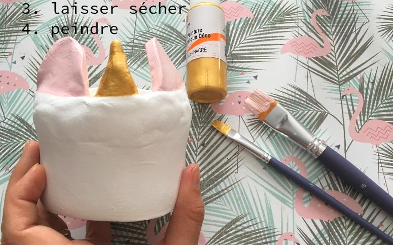 realisation cache pot licorne peinture