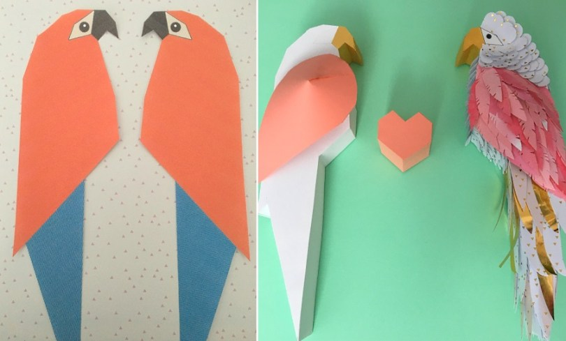 ara perroquet papier