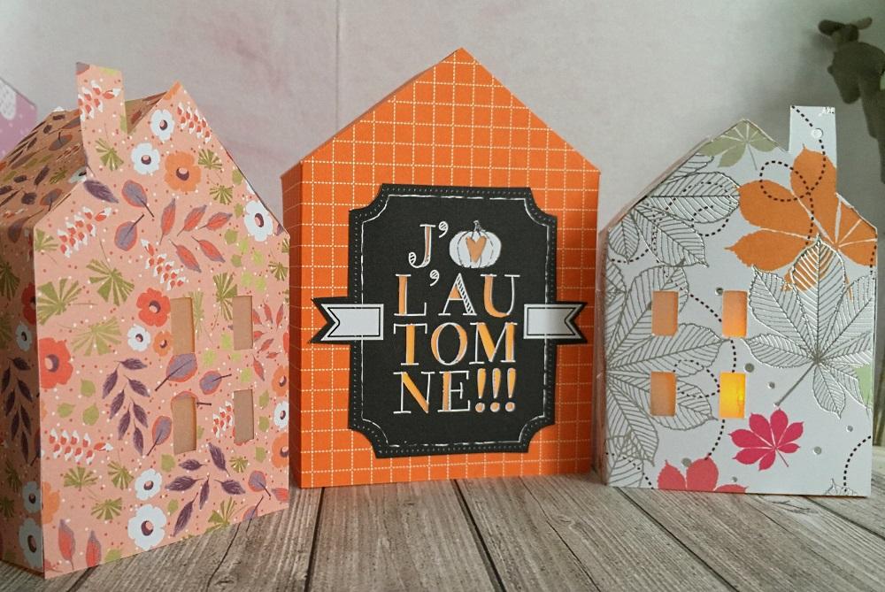 Déco : photophores en papier en forme de petites maisons