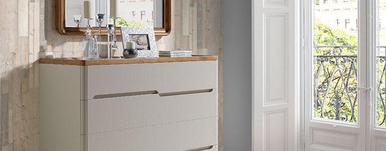 Espejo colección Valentina y Comoda-para-dormitorio-Valentina-blanca-roble