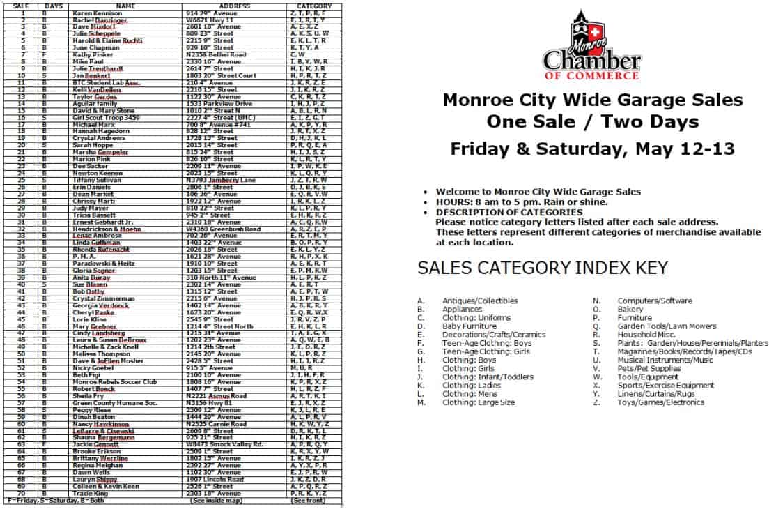 garage sale list   Monroe Chamber of Commerce & Industry   Monroe