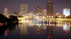 Home page image: Rochester, NY skyline at night