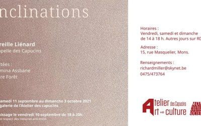 Expo «Inclinations» à l'Atelier des Capucins à Mons du 11 septembre au 3 octobre 2021